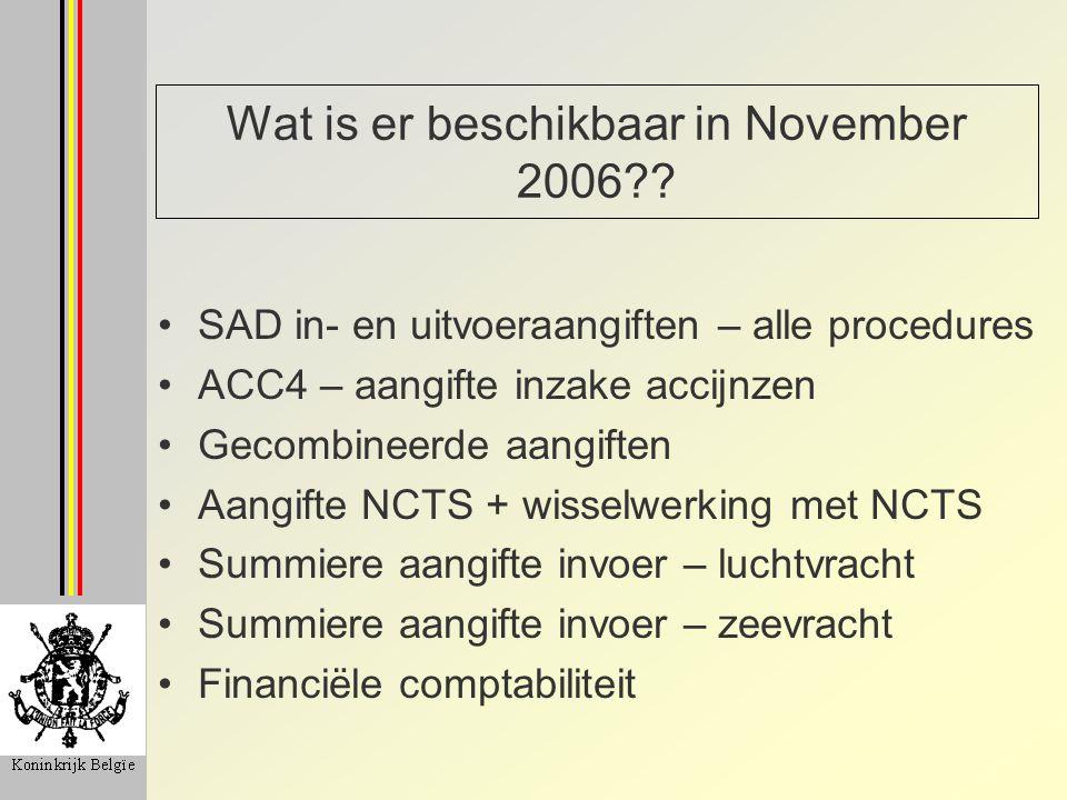 Wat is er beschikbaar in November 2006