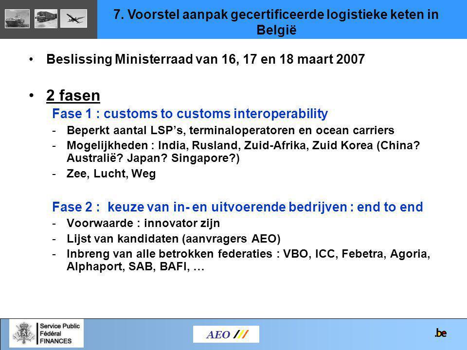 7. Voorstel aanpak gecertificeerde logistieke keten in België