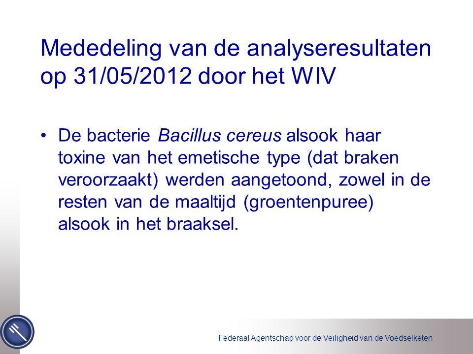 Mededeling van de analyseresultaten op 31/05/2012 door het WIV