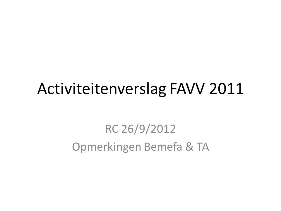 Activiteitenverslag FAVV 2011