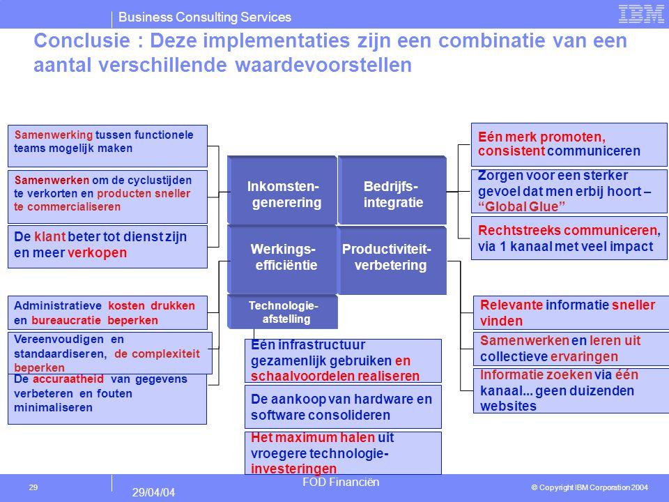 Conclusie : Deze implementaties zijn een combinatie van een aantal verschillende waardevoorstellen