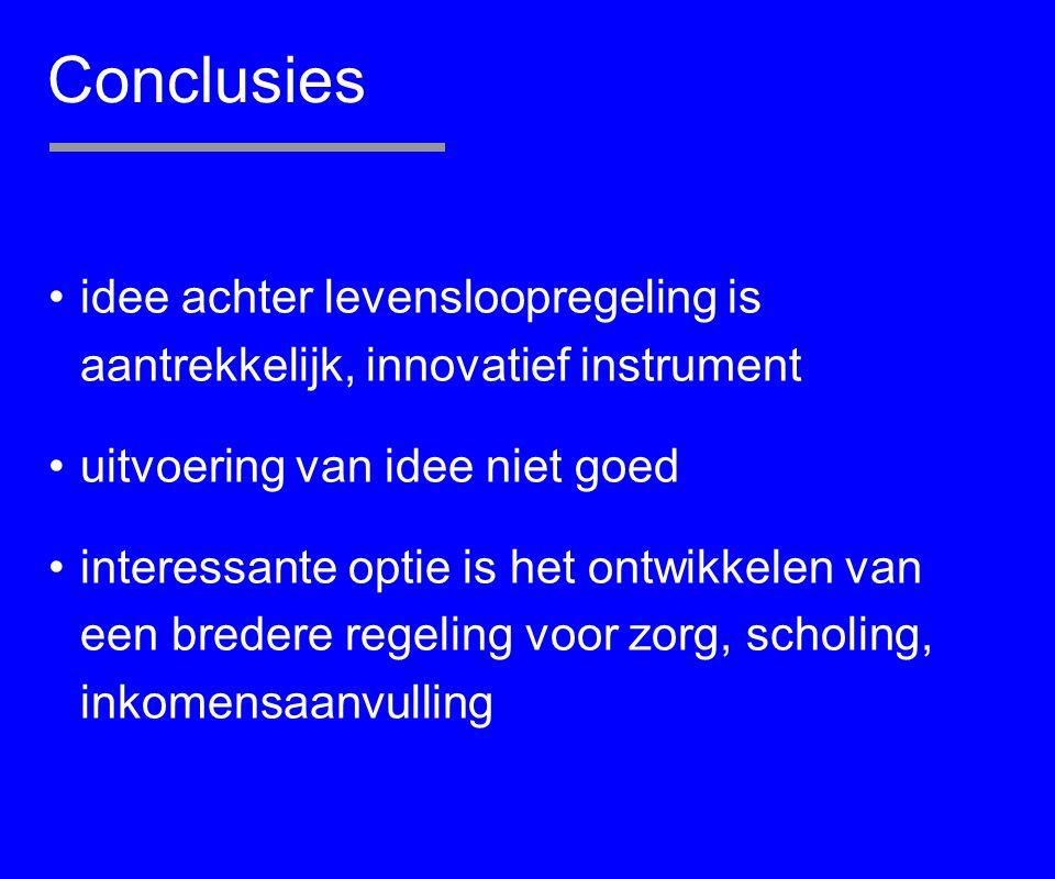 Conclusies idee achter levensloopregeling is aantrekkelijk, innovatief instrument. uitvoering van idee niet goed.