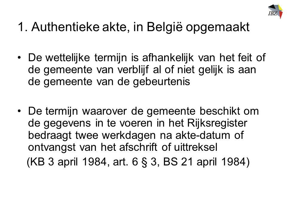1. Authentieke akte, in België opgemaakt