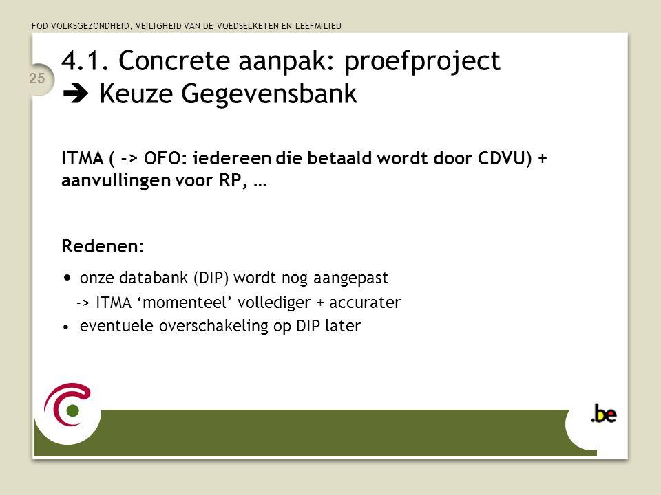 4.1. Concrete aanpak: proefproject  Keuze Gegevensbank