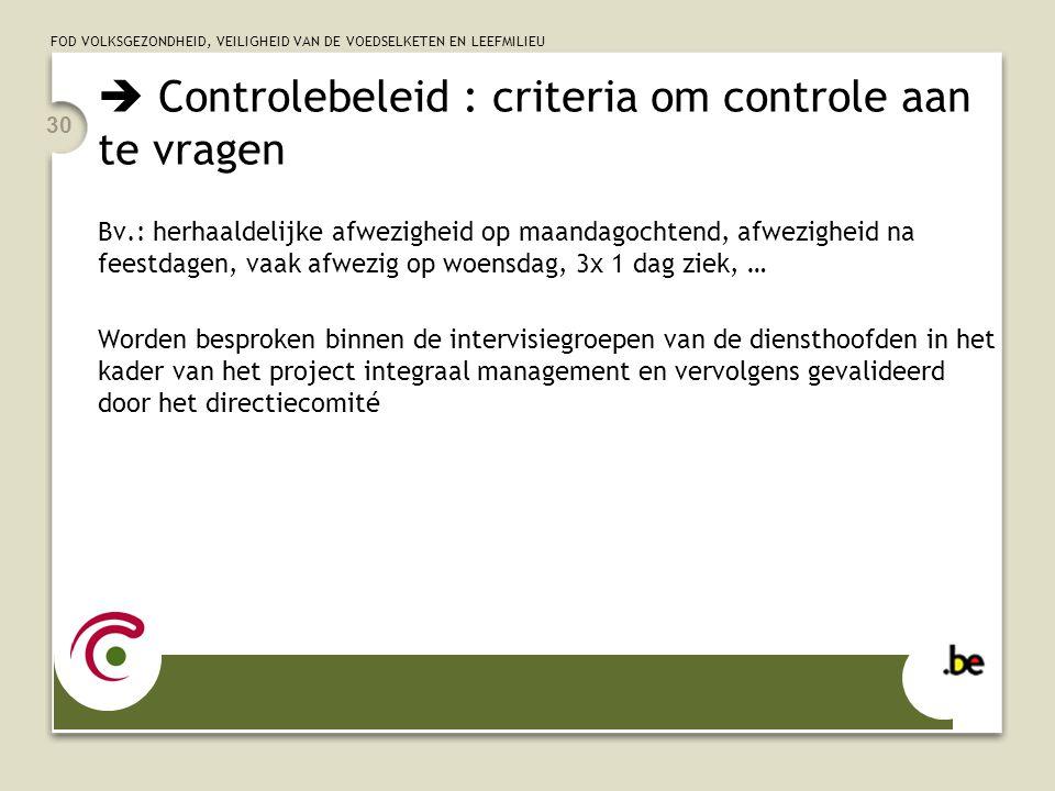  Controlebeleid : criteria om controle aan te vragen