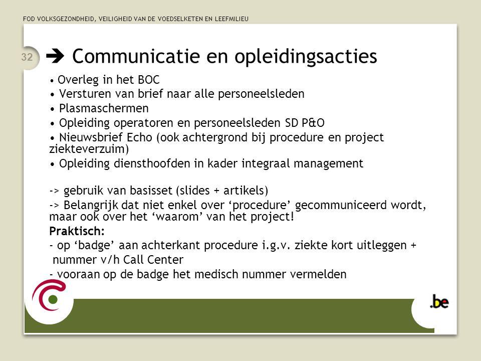  Communicatie en opleidingsacties