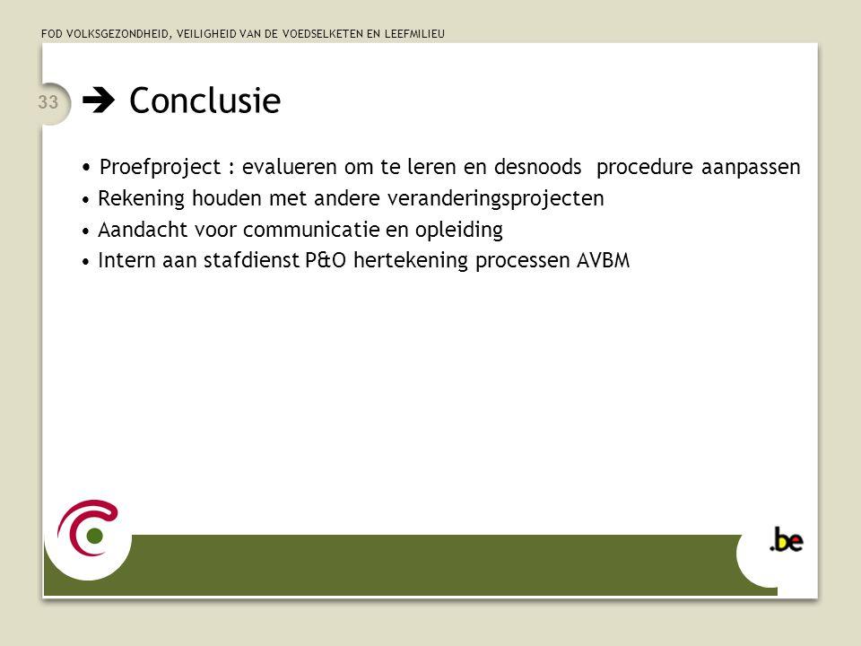  Conclusie Proefproject : evalueren om te leren en desnoods procedure aanpassen. Rekening houden met andere veranderingsprojecten.
