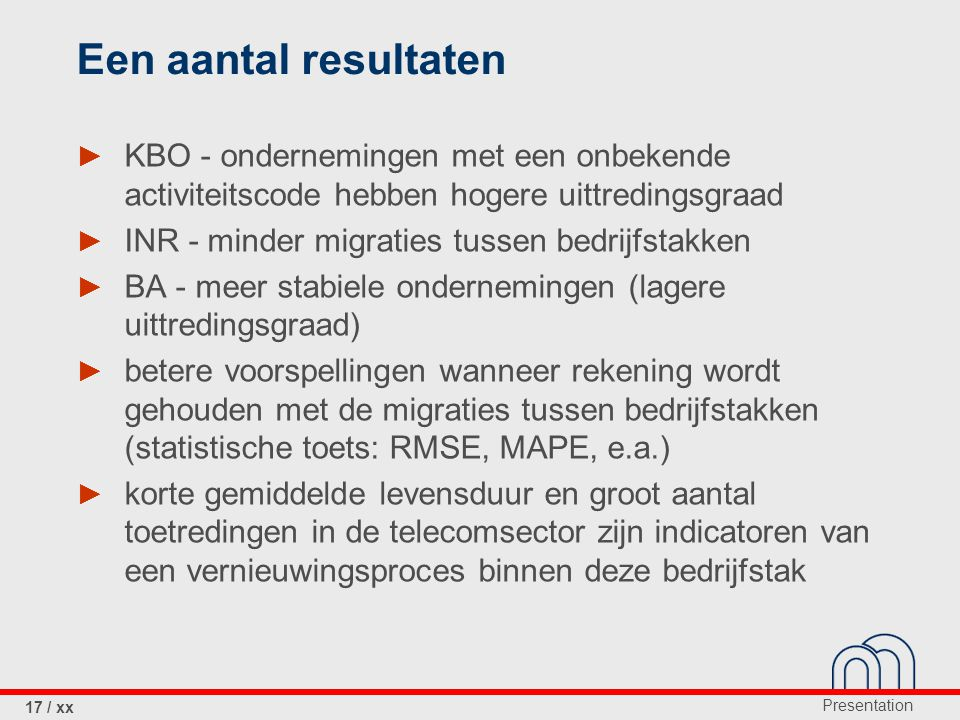 Een aantal resultaten KBO - ondernemingen met een onbekende activiteitscode hebben hogere uittredingsgraad.
