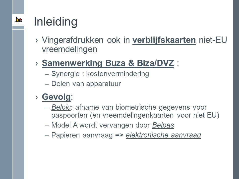 Inleiding Vingerafdrukken ook in verblijfskaarten niet-EU vreemdelingen. Samenwerking Buza & Biza/DVZ :