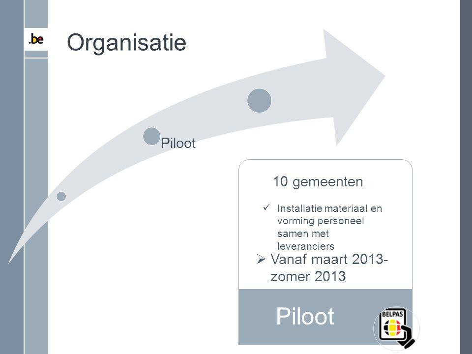 Organisatie Piloot Piloot 10 gemeenten Vanaf maart 2013-zomer 2013