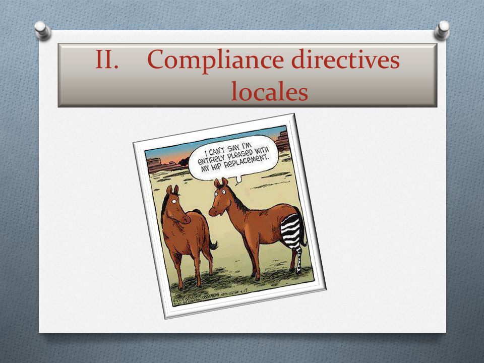 Compliance directives locales