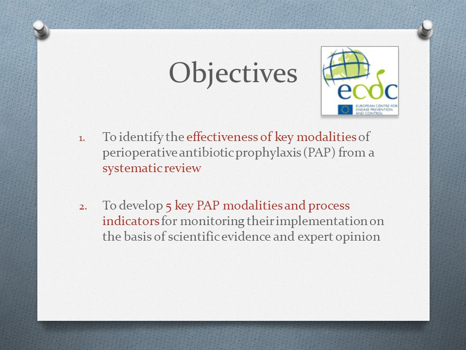 Objectives To identify the effectiveness of key modalities of perioperative antibiotic prophylaxis (PAP) from a systematic review.
