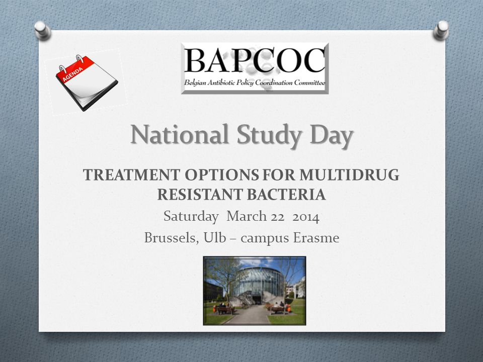 National Study Day TREATMENT OPTIONS FOR MULTIDRUG RESISTANT BACTERIA