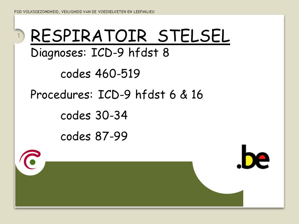 RESPIRATOIR STELSEL Diagnoses: ICD-9 hfdst 8