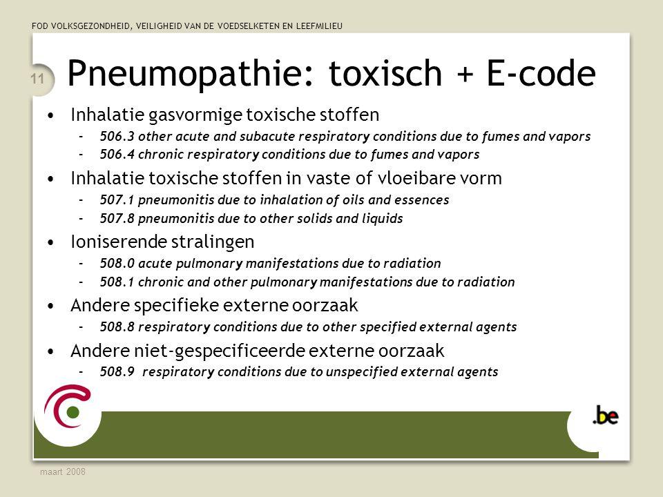 Pneumopathie: toxisch + E-code