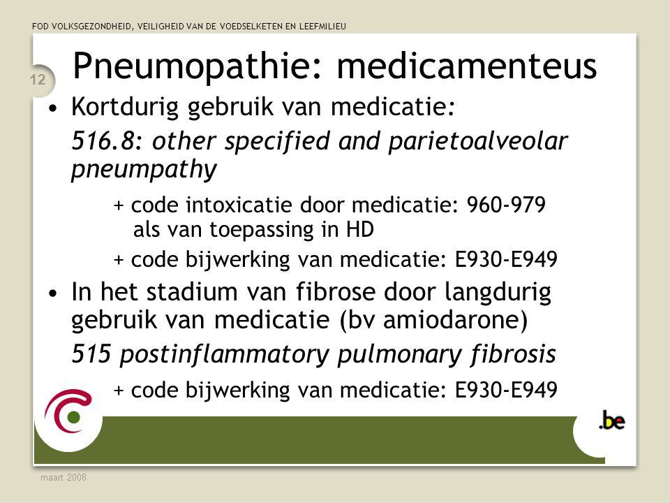 Pneumopathie: medicamenteus
