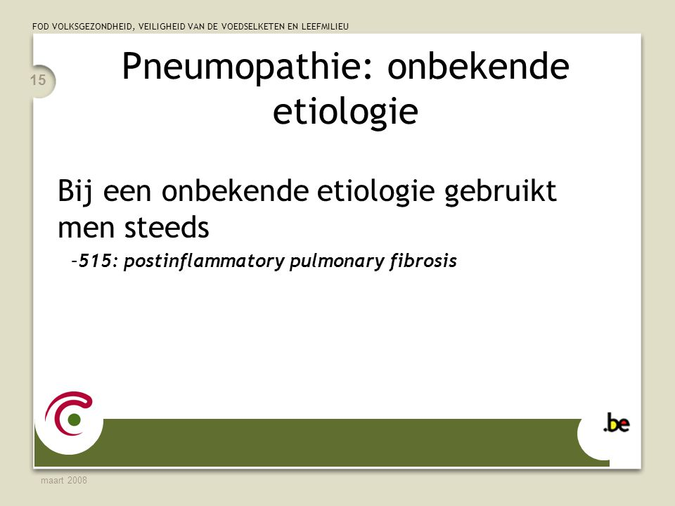 Pneumopathie: onbekende etiologie