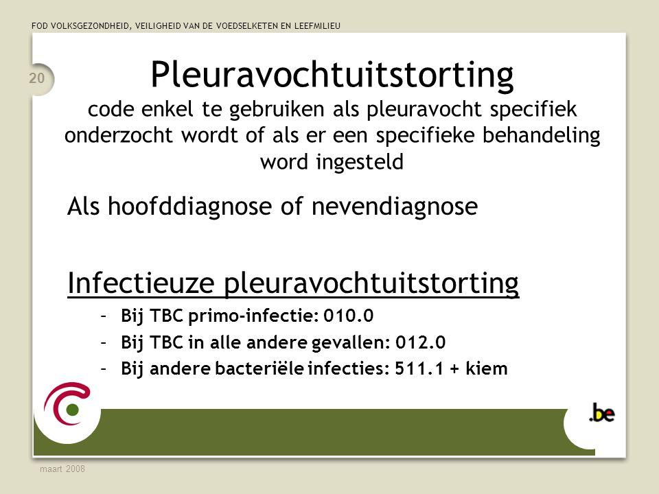 Pleuravochtuitstorting code enkel te gebruiken als pleuravocht specifiek onderzocht wordt of als er een specifieke behandeling word ingesteld