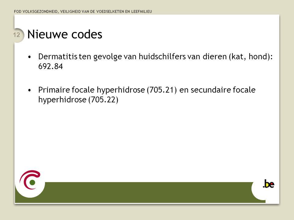 Nieuwe codes Dermatitis ten gevolge van huidschilfers van dieren (kat, hond): 692.84.