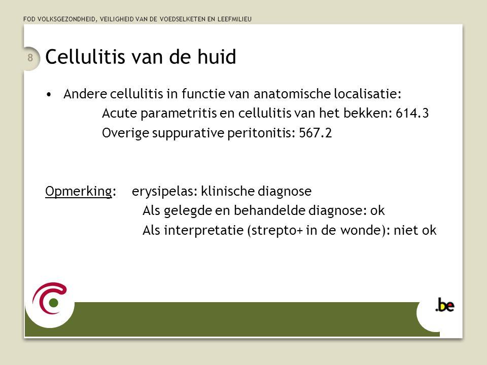 Cellulitis van de huid Andere cellulitis in functie van anatomische localisatie: Acute parametritis en cellulitis van het bekken: 614.3.