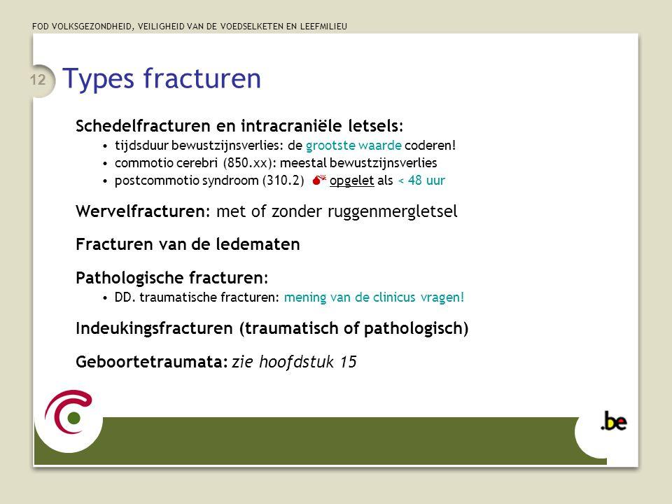 Types fracturen Schedelfracturen en intracraniële letsels: