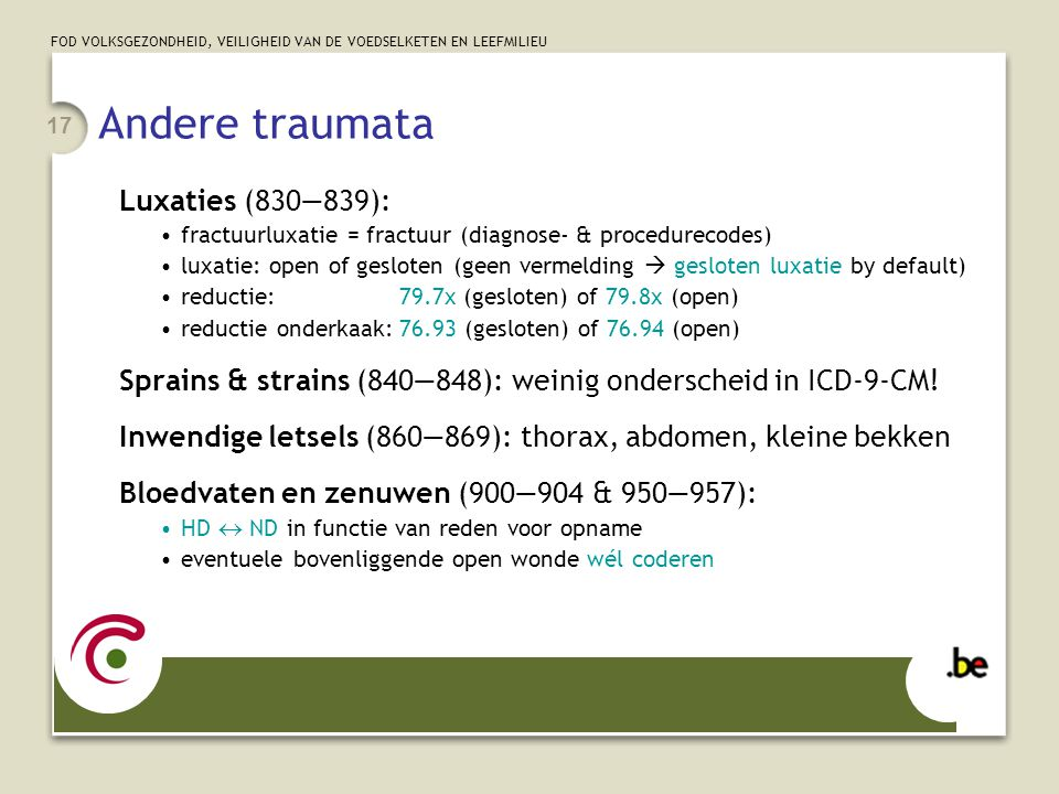 Andere traumata Luxaties (830—839):