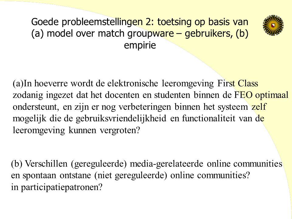 Goede probleemstellingen 2: toetsing op basis van (a) model over match groupware – gebruikers, (b) empirie