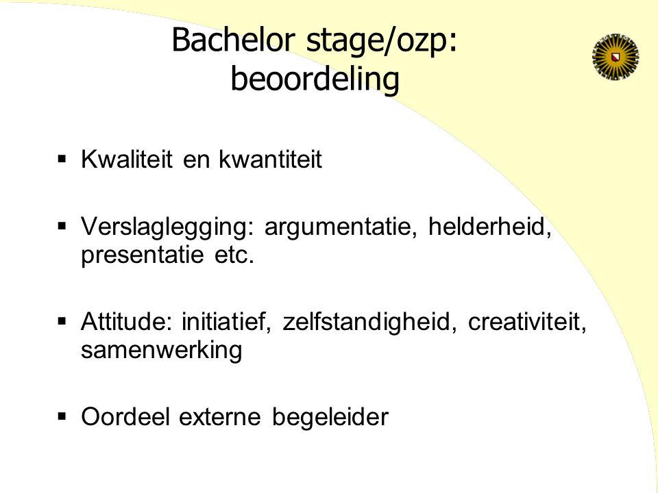 Bachelor stage/ozp: beoordeling