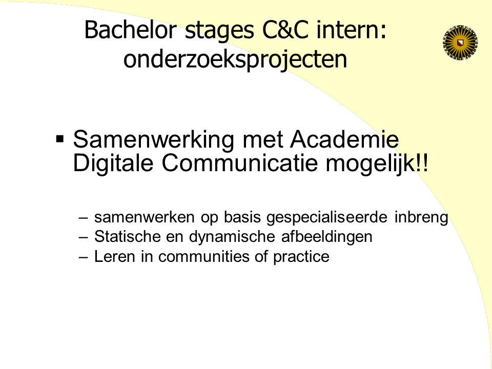 Bachelor stages C&C intern: onderzoeksprojecten