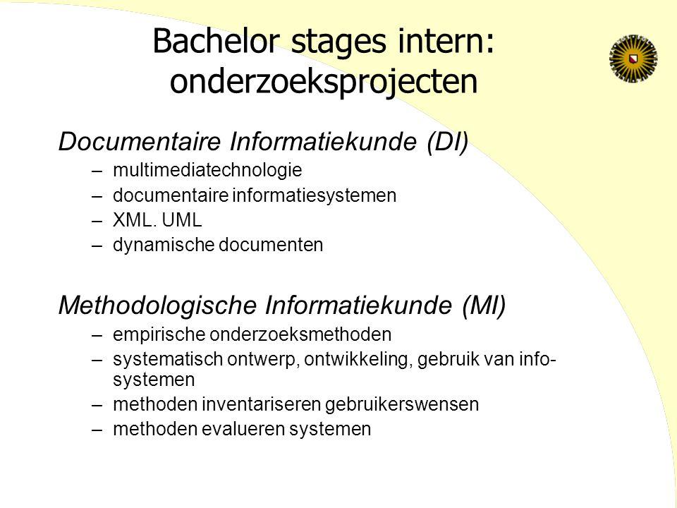 Bachelor stages intern: onderzoeksprojecten