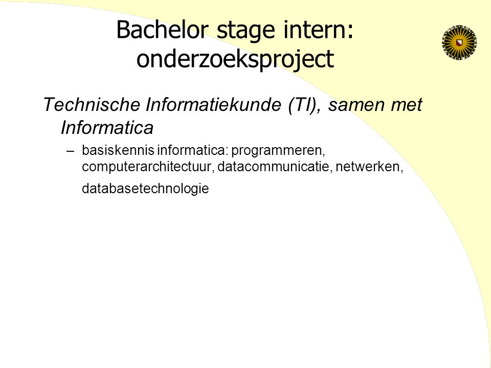 Bachelor stage intern: onderzoeksproject