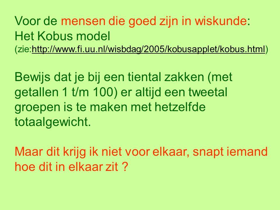 Voor de mensen die goed zijn in wiskunde: Het Kobus model (zie:http://www.fi.uu.nl/wisbdag/2005/kobusapplet/kobus.html)
