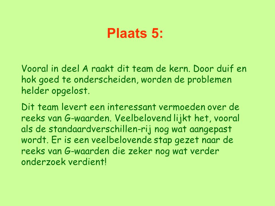 Plaats 5: Vooral in deel A raakt dit team de kern. Door duif en hok goed te onderscheiden, worden de problemen helder opgelost.