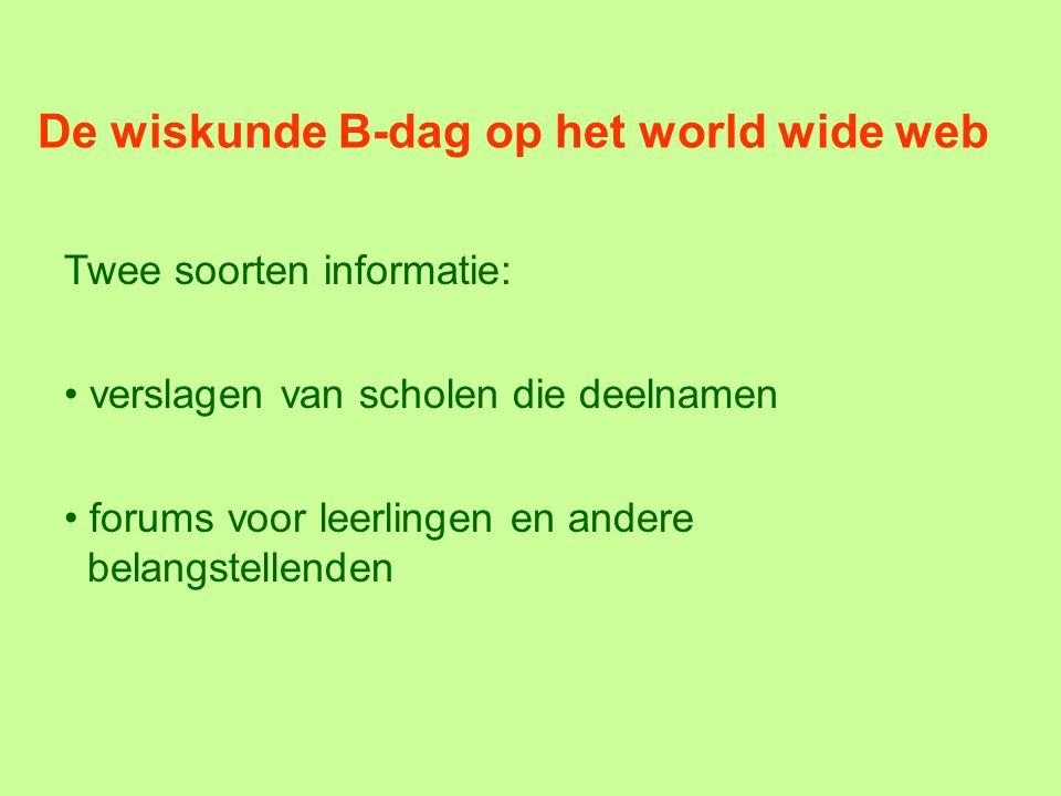De wiskunde B-dag op het world wide web