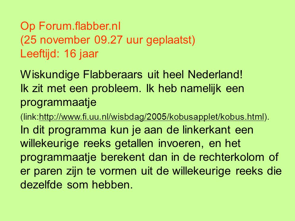 Op Forum. flabber. nl (25 november 09