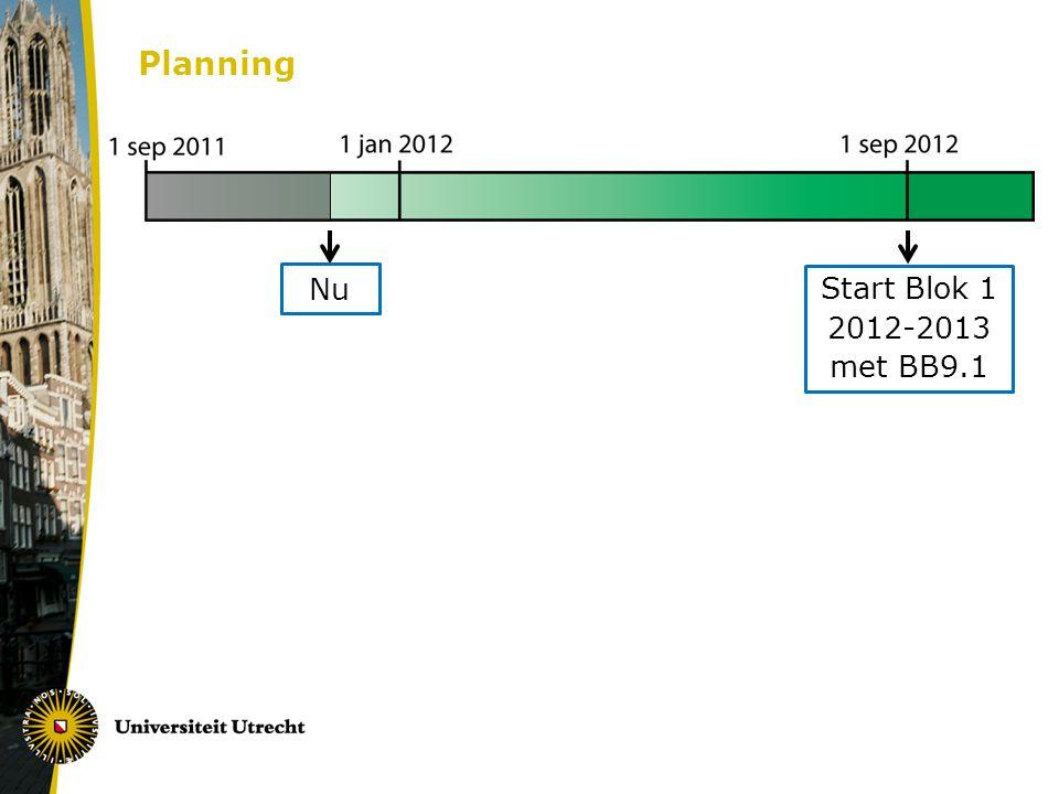 Planning Nu Start Blok 1 2012-2013 met BB9.1