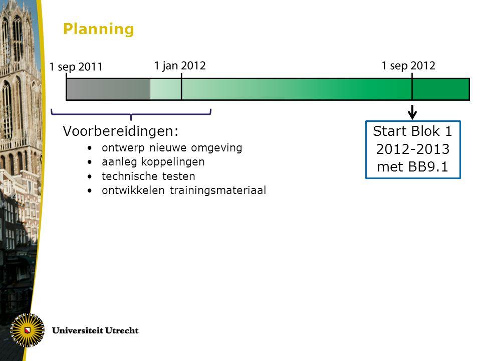 Planning Voorbereidingen: Start Blok 1 2012-2013 met BB9.1