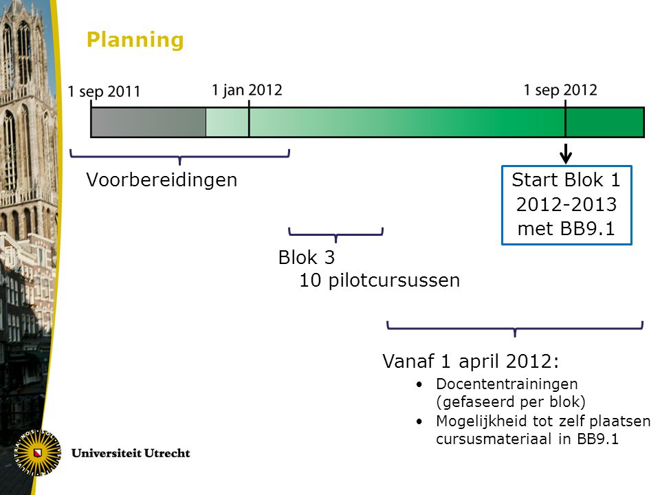 Planning Voorbereidingen Start Blok 1 2012-2013 met BB9.1