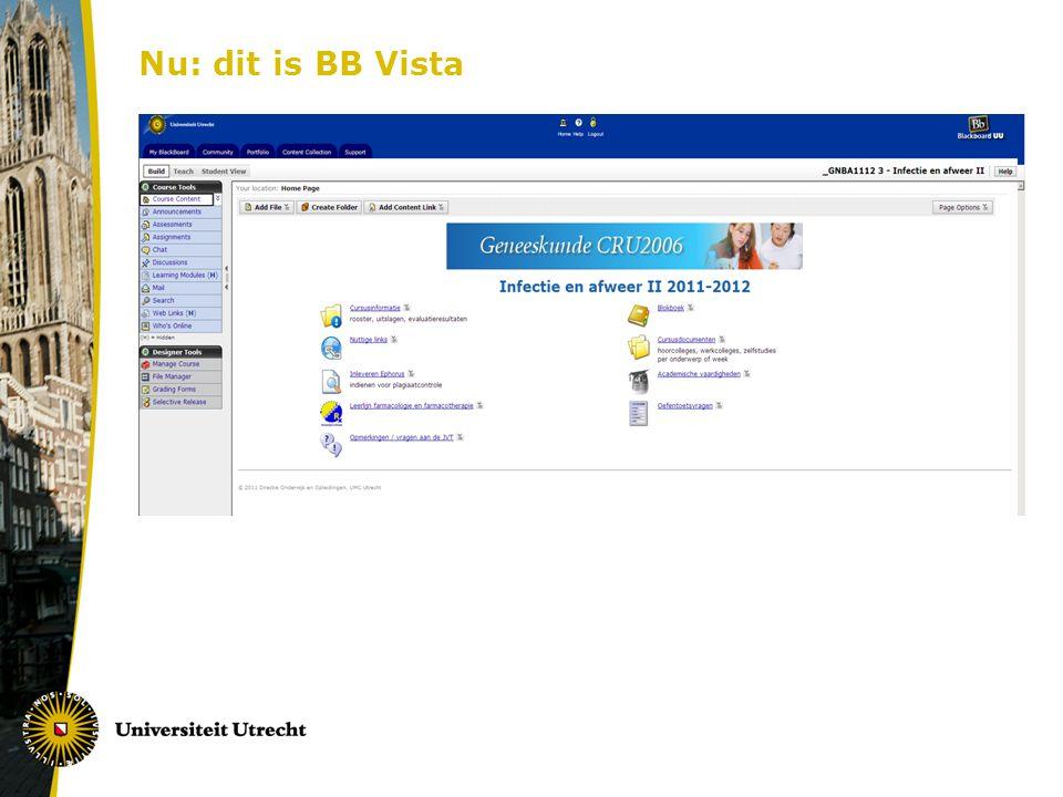 Nu: dit is BB Vista Voorbeeld van een Vista cursus.