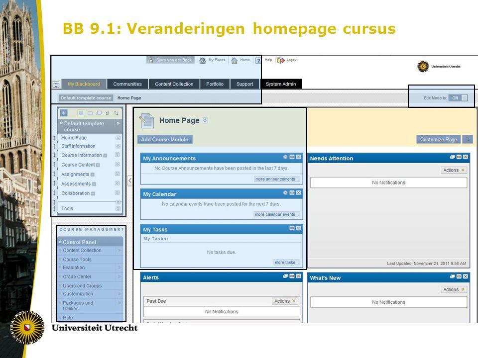 BB 9.1: Veranderingen homepage cursus