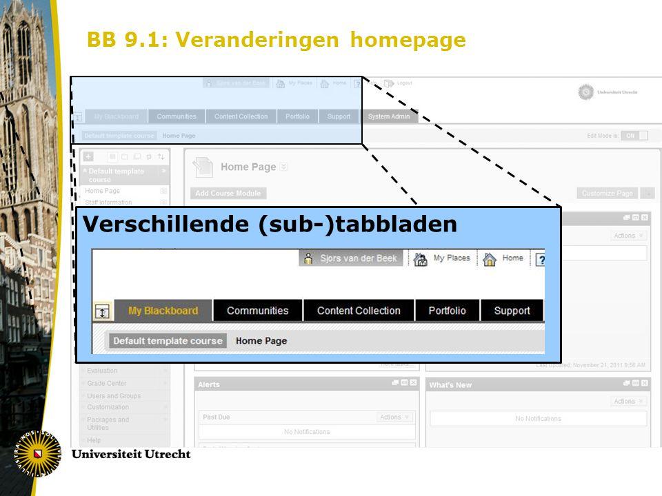 BB 9.1: Veranderingen homepage