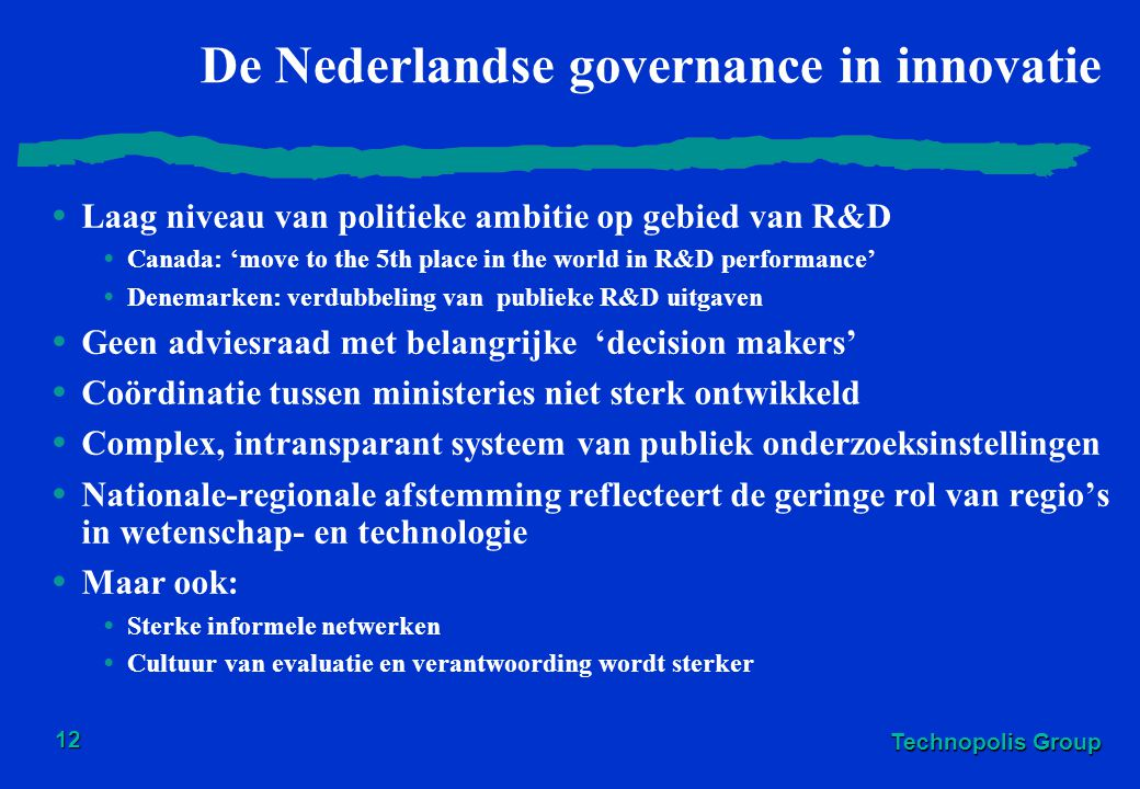De Nederlandse governance in innovatie