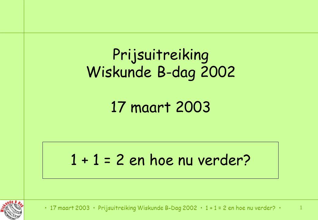 Prijsuitreiking Wiskunde B-dag 2002