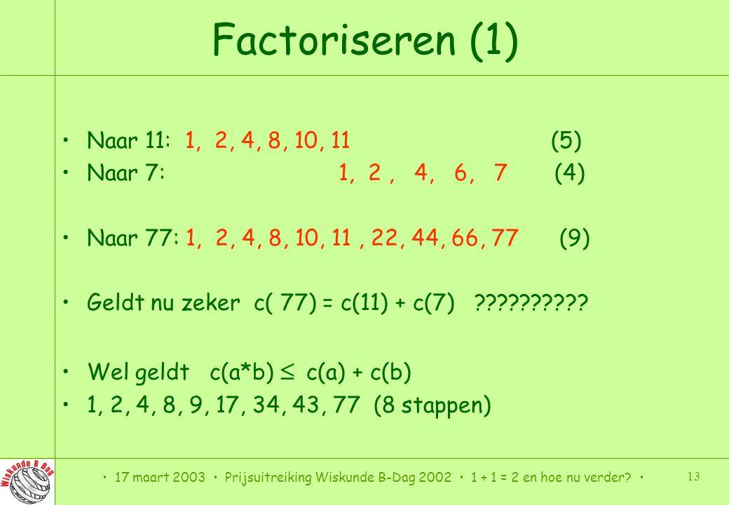 Factoriseren (1) Naar 11: 1, 2, 4, 8, 10, 11 (5)
