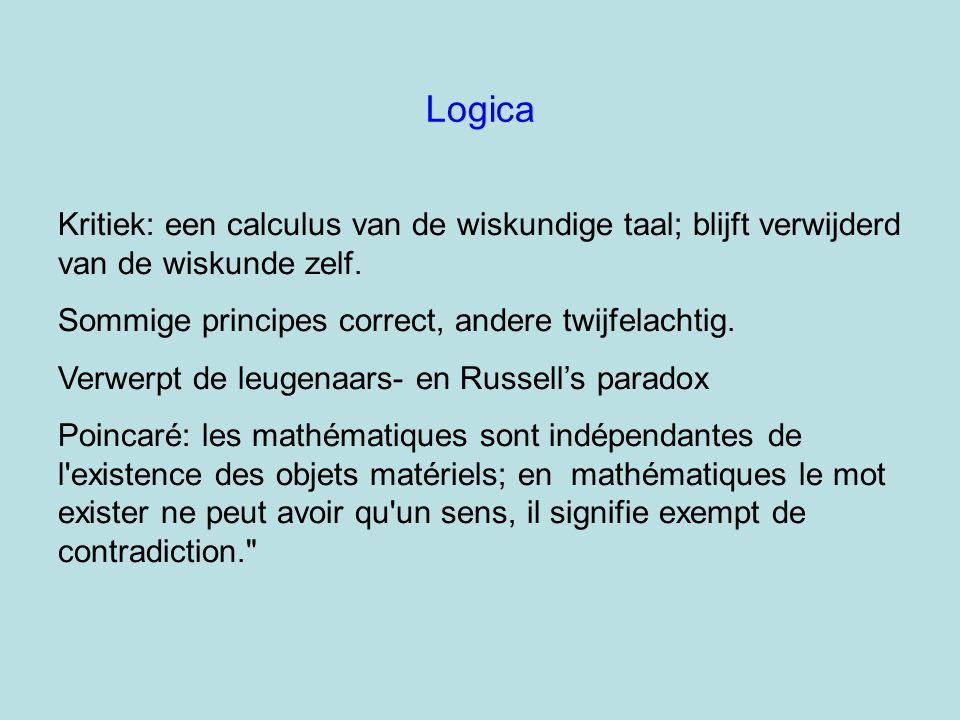 Logica Kritiek: een calculus van de wiskundige taal; blijft verwijderd van de wiskunde zelf. Sommige principes correct, andere twijfelachtig.