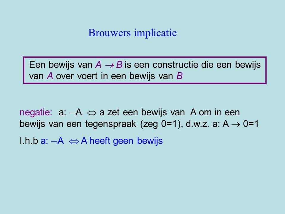Brouwers implicatie Een bewijs van A B is een constructie die een bewijs van A over voert in een bewijs van B.