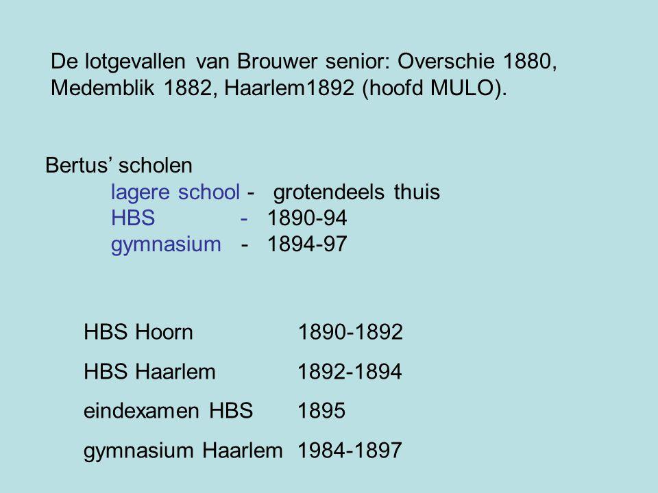 De lotgevallen van Brouwer senior: Overschie 1880, Medemblik 1882, Haarlem1892 (hoofd MULO).
