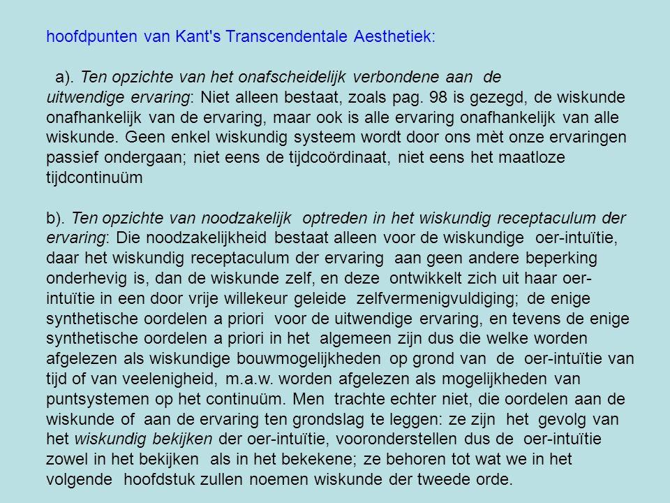 hoofdpunten van Kant s Transcendentale Aesthetiek: