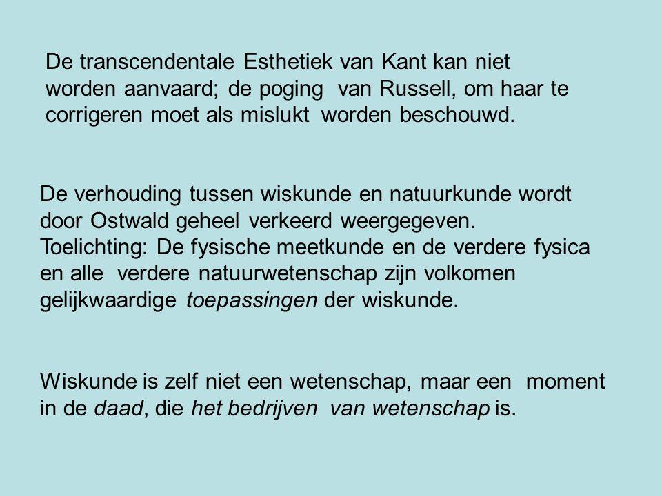 De transcendentale Esthetiek van Kant kan niet