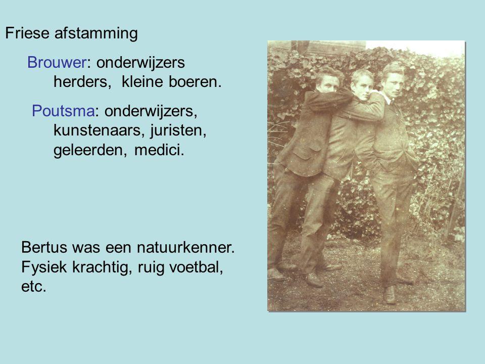 Friese afstamming Brouwer: onderwijzers herders, kleine boeren. Poutsma: onderwijzers, kunstenaars, juristen, geleerden, medici.